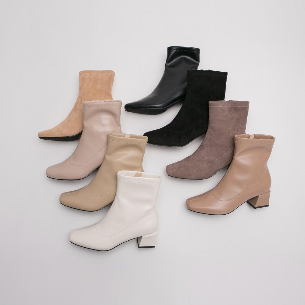 Grace gift-微方頭造型中跟短靴