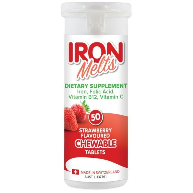 [q.d.shop]現貨 Iron Melts 鐵咀嚼片 草莓口味 瑞士製造 /50錠