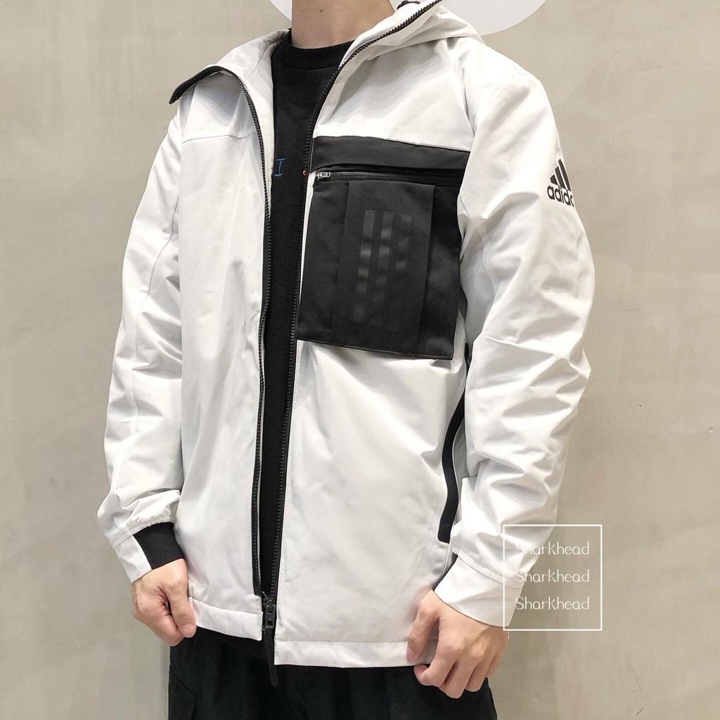 【Sharkhead】現貨 Adidas Sports 愛迪達 風衣 外套 白 口袋 FM9394 黑 FM9393 男