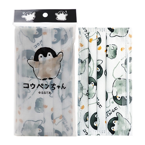 正能量企鵝 拋棄式防塵口罩-成人白(5片裝)【小三美日】D791131