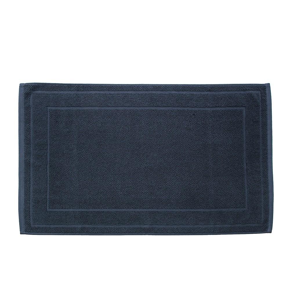 HOLA 葡萄牙純棉緹花毛巾踏墊50x80cm 框紋深藍
