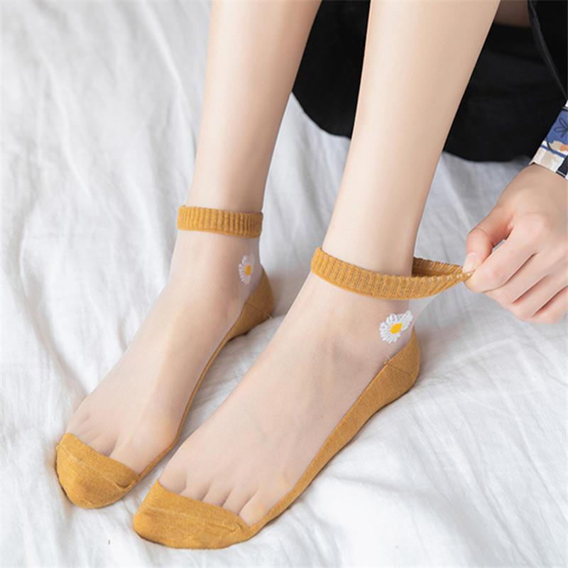 夏季薄款新品小雛菊玻璃絲襪子女加固防滑底小雛菊印花時尚透氣防臭低幫船襪水晶絲襪短襪
