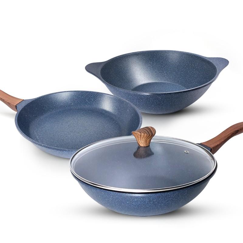 【韓國WONDER MAMA】藍寶石原礦木紋不沾鍋具組28cm(任選炒鍋、湯鍋、平底鍋、鍋蓋)