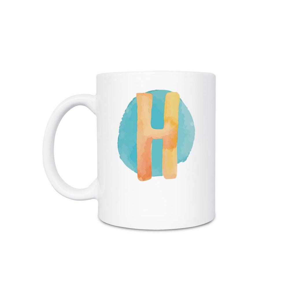 一好一作·Hauzii |白瓷馬克杯-彩虹字母-H