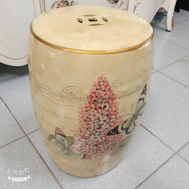 歐式古典手繪花卉斑蝶陶瓷椅~~~(含運費)