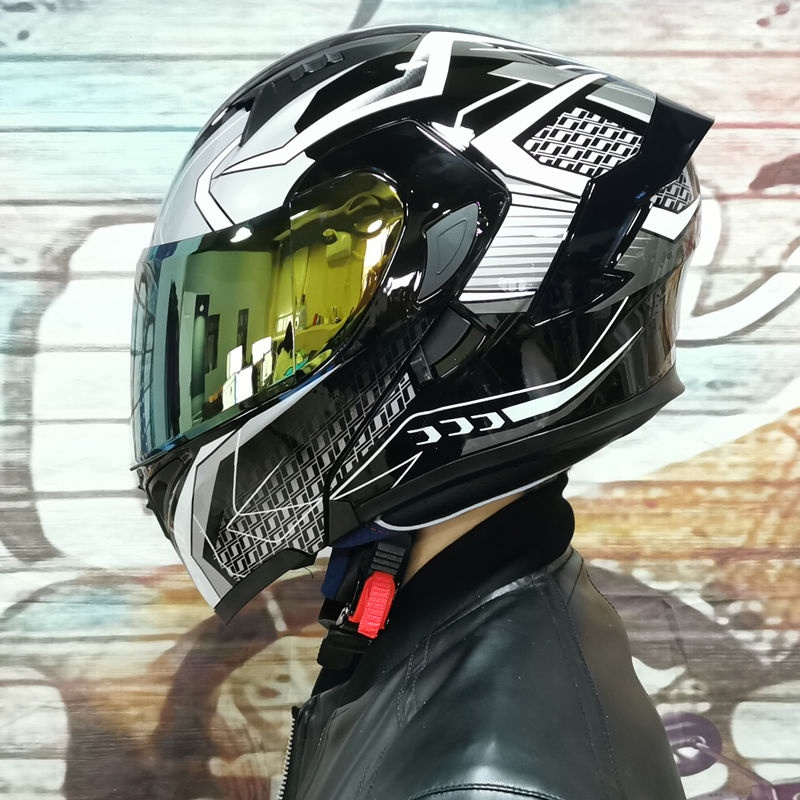 Orz電動車頭盔男揭面盔雙鏡片半盔安全帽個性四季機車頭灰女~燃騎