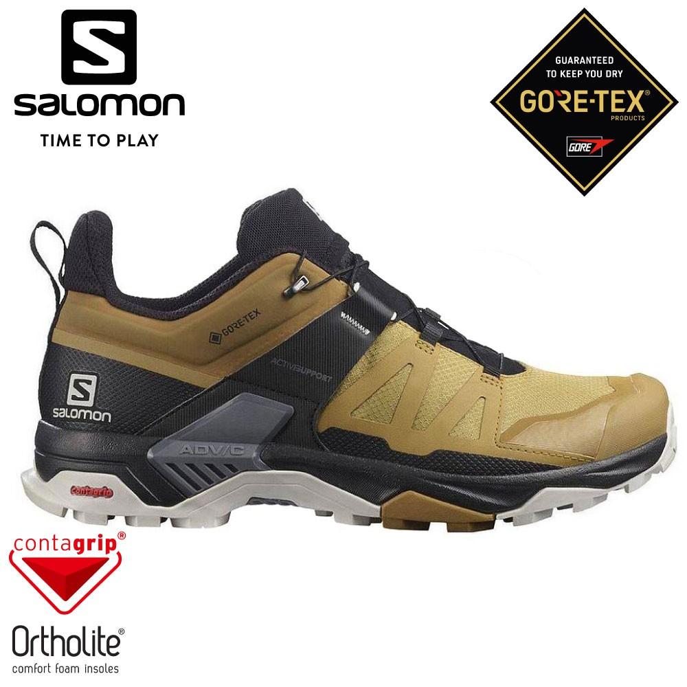 【SALOMON 索羅門 男 X ULTRA 4 GTX 低筒登山鞋 《黃/黑/岩灰》】413855/悠遊山水