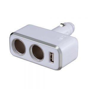 車之嚴選 cars_go 汽車用品【Fizz-934】1.2A USB+雙孔直插可調式點煙器電源插座擴充器