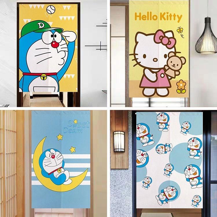 哆啦A夢門簾kitty貓日式動漫布藝門簾機器貓臥室隔斷半簾廁所布簾