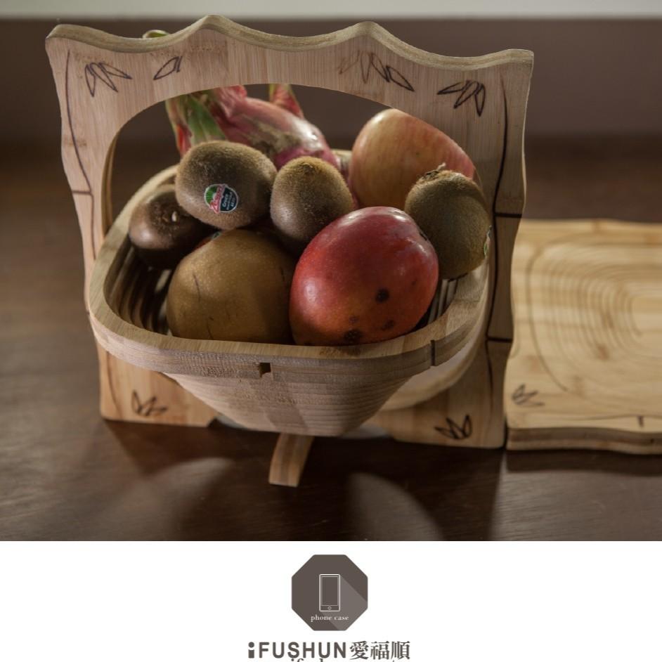 竹製摺疊水果籃 / 鍋墊二用 【iFUSHUN 愛福順原木設計】 原木摺疊水果籃