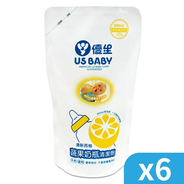US 優生 - 西柚蔬果奶瓶清潔液補充包 (900ml)x6包 / 乙箱【麗兒采家】