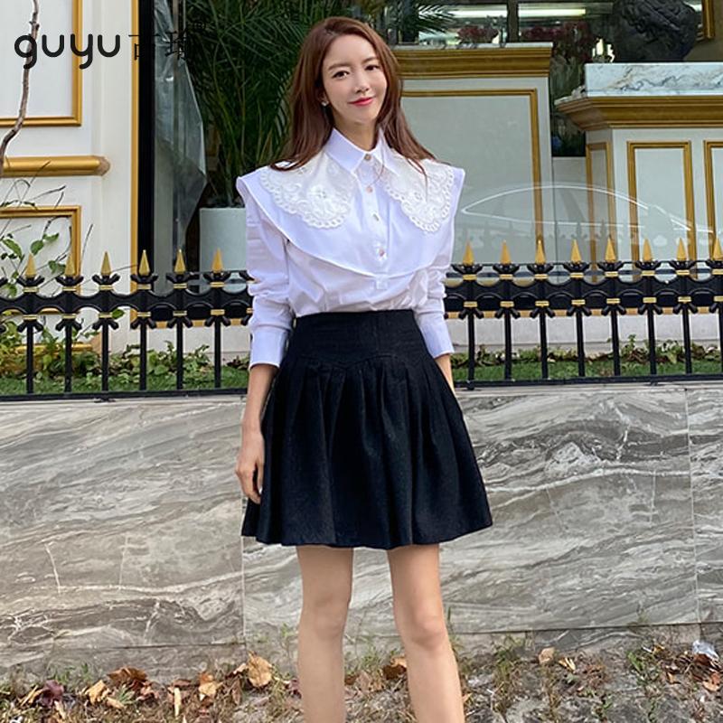 GUYU古瑜披肩長袖shirt女生白色襯衫韓系百搭上衣