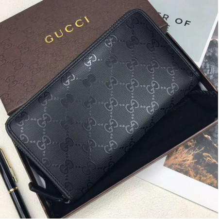 Gucci錢包 長夾 手抓包 錢夾 短夾 男包包 手拿包 男用長夾 Gucci拉鏈包 Gucci皮夾 黑色印花真皮錢包