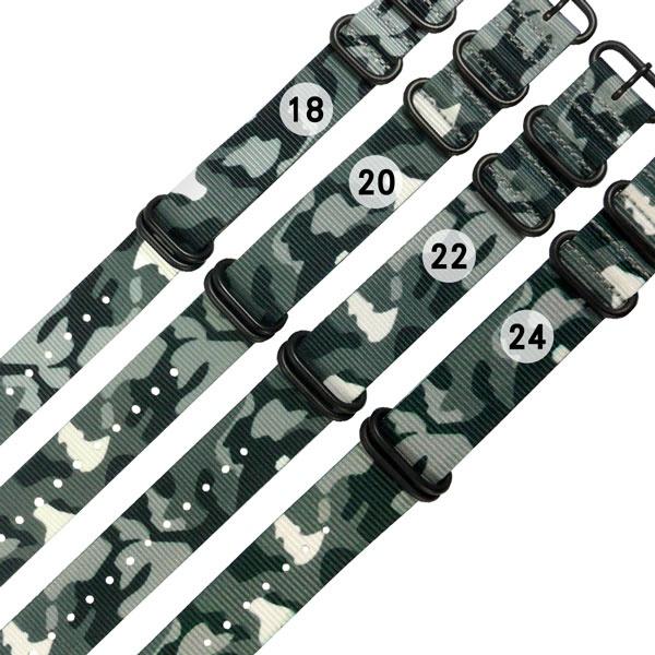 Watchband/18.20.22.24 mm/各品牌通用 潮流迷彩 輕便柔軟 黑鋼扣頭 尼龍錶帶 灰綠色 廠商直送