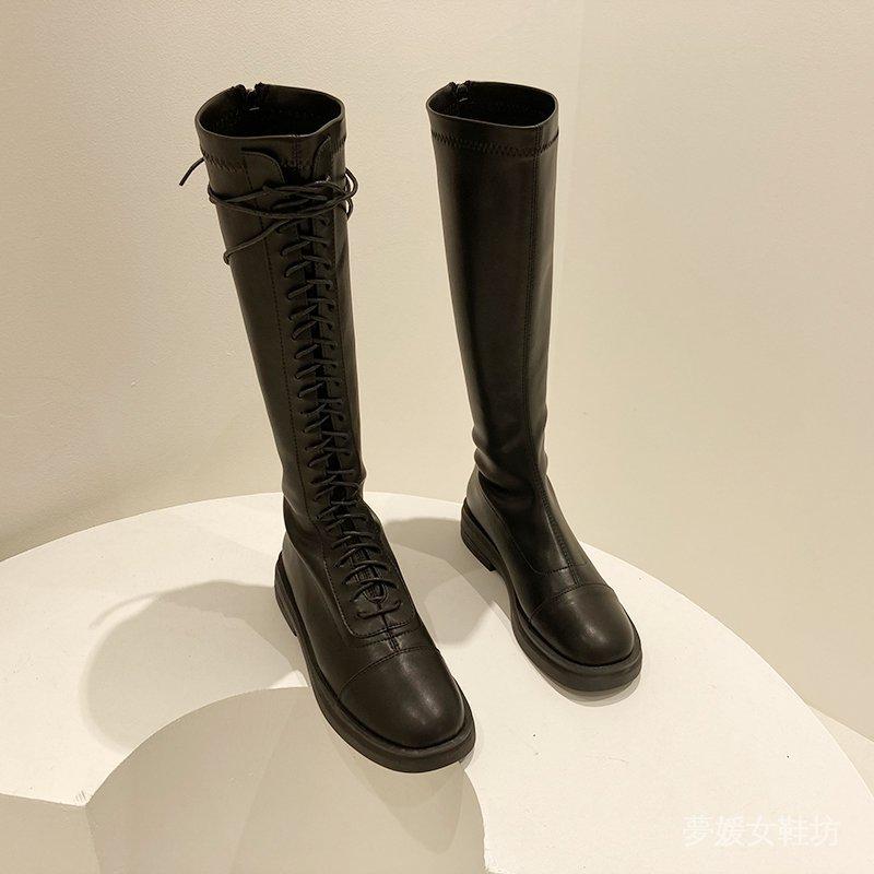 【正碼現貨】騎士靴網紅不過膝高筒靴復古方頭軟底馬丁靴英倫風加絨長筒靴長靴 b0M1