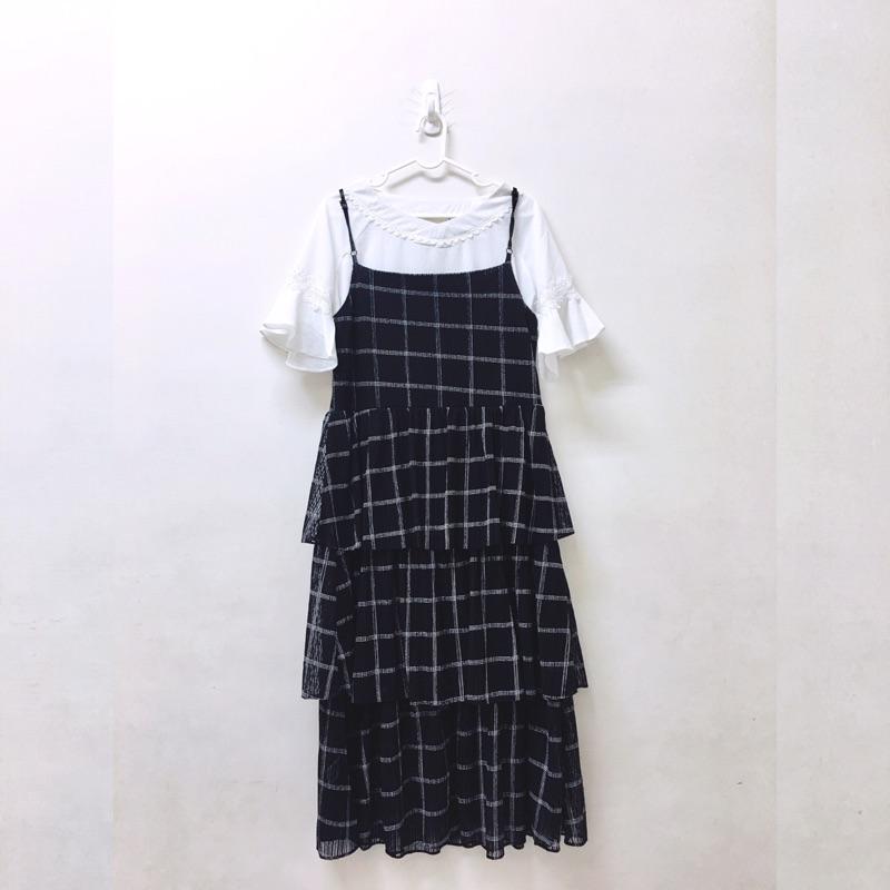 Pazzo兩件式格紋格子蛋糕裙連身洋裝