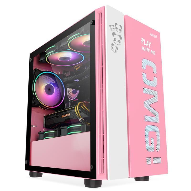 📣爆款免運 電腦主機殼 遊戲悍將 OMG電腦機殼 台式機箱側透明 水冷組裝玻璃 粉色黑紅小機箱