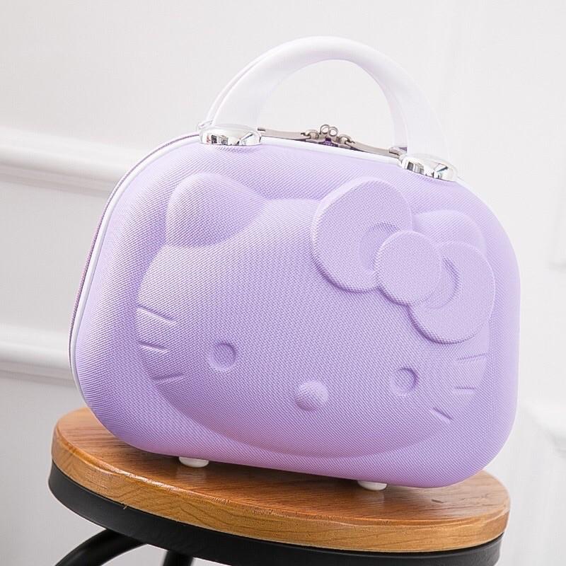 🎀 Hello Kitty 🎀多功能14吋3D立體硬殼紫色紫邊行李箱手提箱