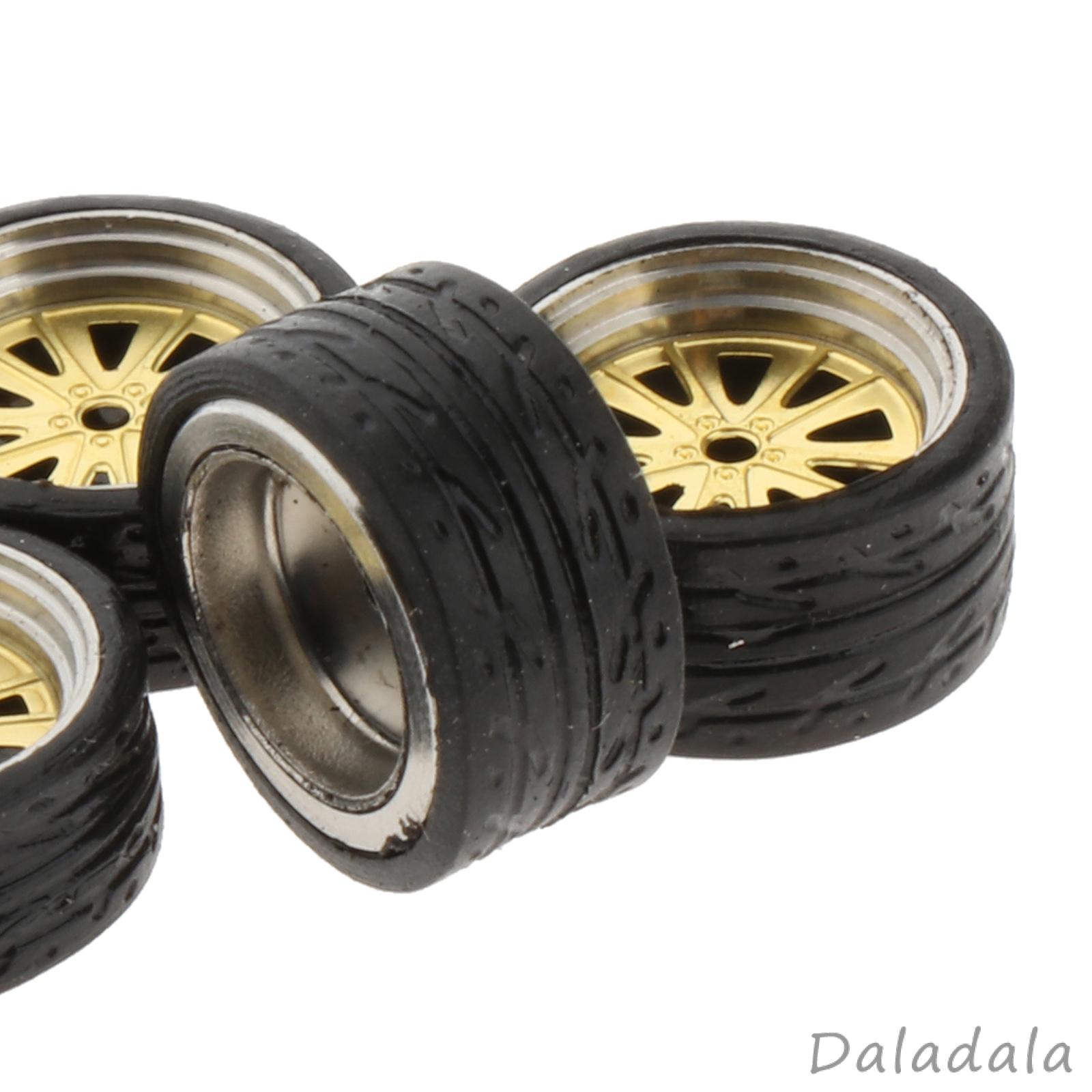 4pcs/套1:64比例模型汽車合金橡膠輪輞輪胎套裝熱輪備件
