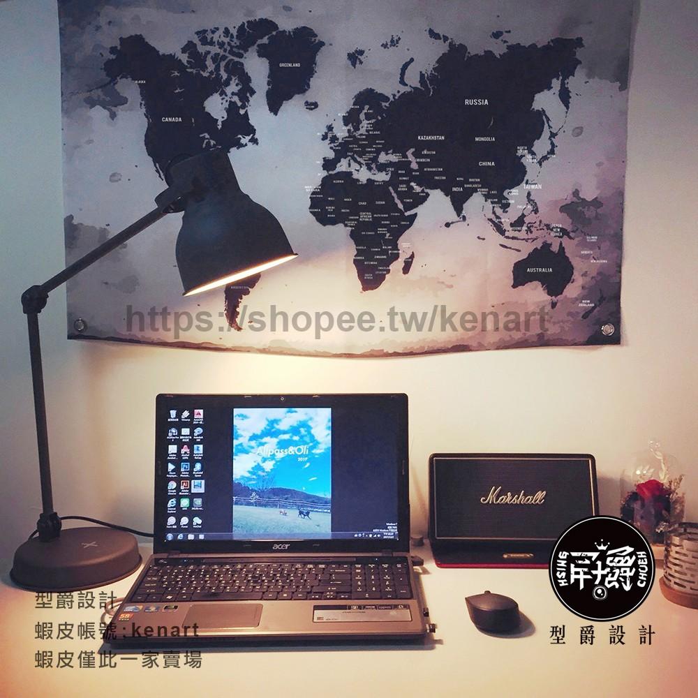 世界地圖牆壁裝飾布幔 黑潮工業風