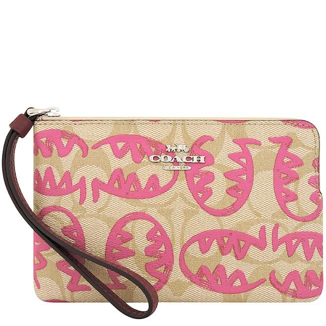 COACH 限量款粉紅色REXY塗鴉大C PVC手拿包