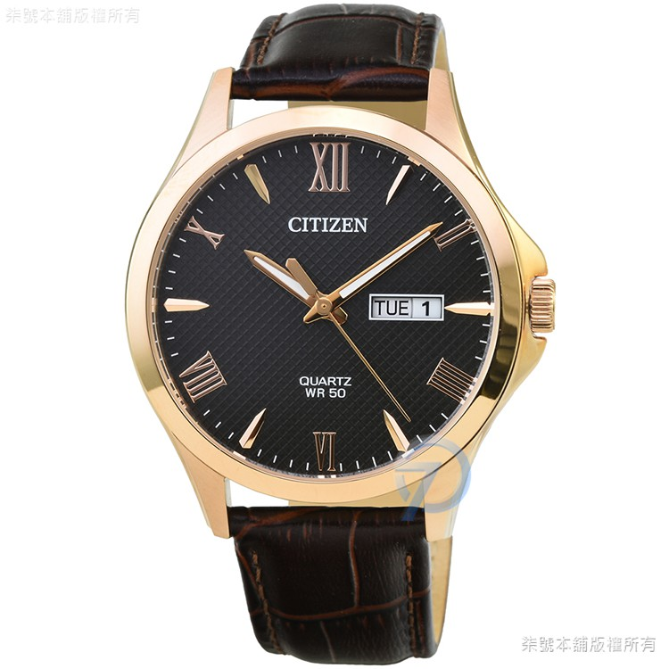 【CITIZEN】星辰簡約風格石英皮帶錶-黑面金框 / BF2023-01H