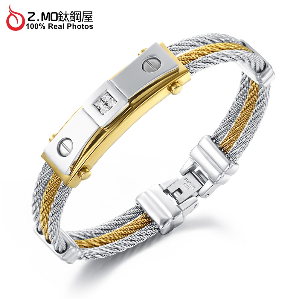 Z.MO鈦鋼屋 白鋼手環 鍍金手環 鋼索手環 簡約典雅 個性手環 中性手環 簡約時尚 帥氣手環【CKS756】