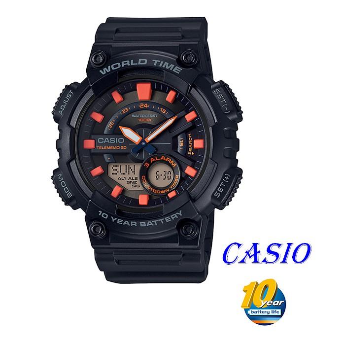 CASIO卡西歐指針與數字雙結合的設計,AEQ-110W運動錶款 AEQ-110W-1A2 AEQ-200W-9A黑X橘