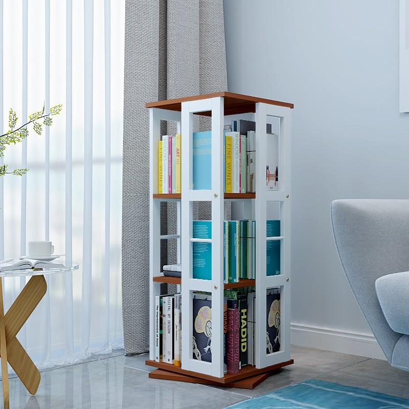 創意書架 鐵藝旋轉書架創意360度書櫃落地簡約置物架兒童繪本架學生cd書架