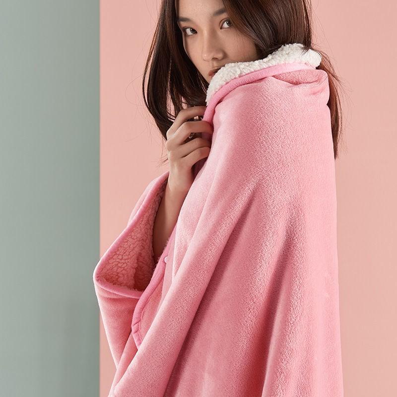 優質商品多功能雙層法蘭絨懶人毯加厚冬季辦公室午睡毛毯學生宿舍斗篷披肩07