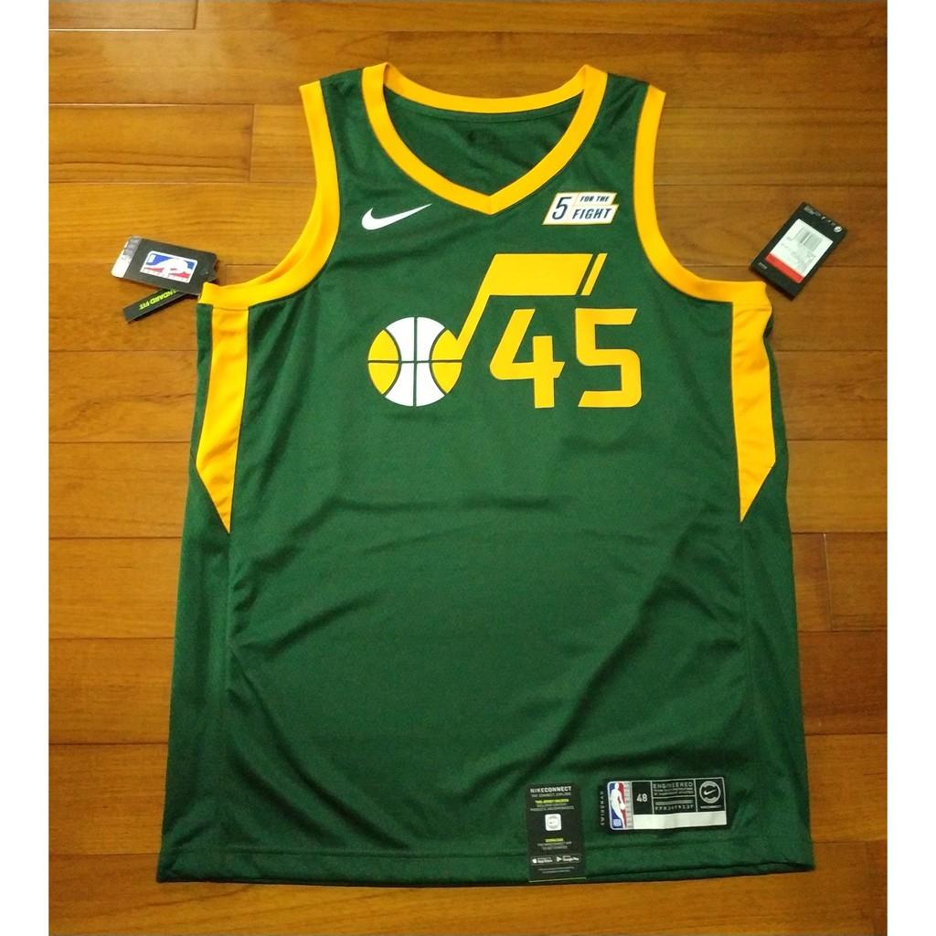 Nike nba球迷版 猶他爵士earned edtion 綠音符45號 MITCHELL帶贊助標