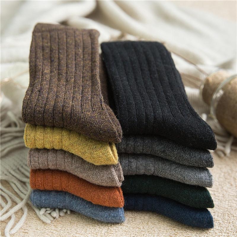 羊毛襪子女冬季加厚保暖純色日系中筒襪秋冬潮流長筒黑色堆堆襪女