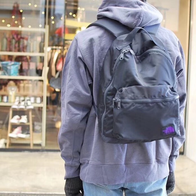 [SUNHOUSE] The North Face TNF 紫標 limonta nylon 大容量 後背包 黑