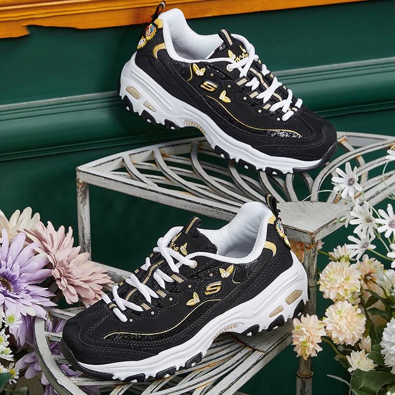 Skechers斯凱奇女鞋蝴蝶刺繡熊貓鞋復古厚底松糕老爹鞋13170