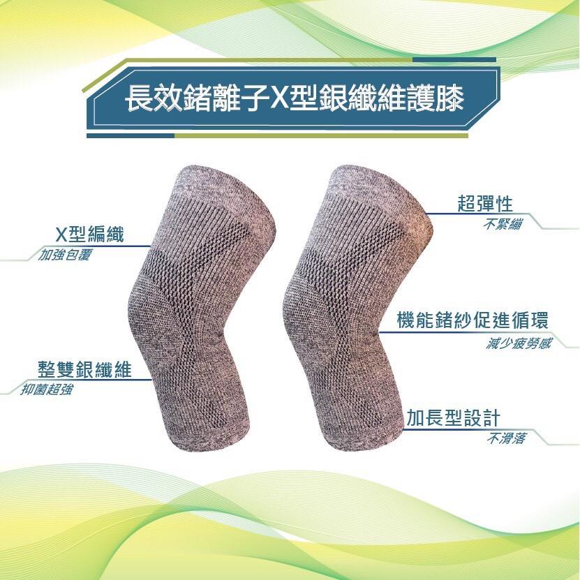 竹炭銀纖維抑菌維雕塑內褲2件組+長效鍺離子X型銀纖維護膝一雙