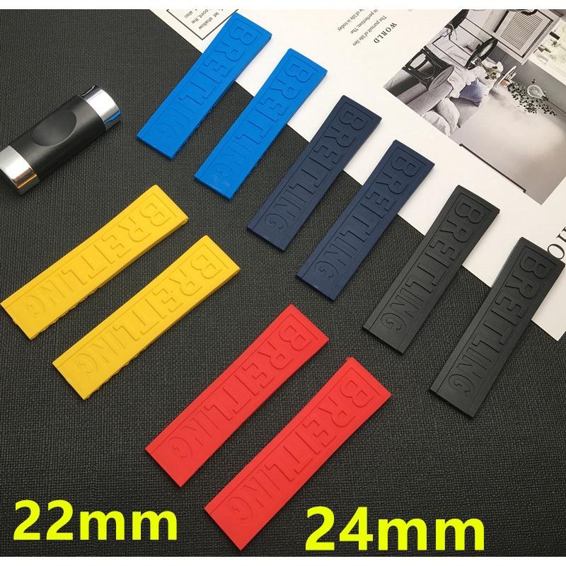 適配 Breitling百年靈手表帶硅膠橡膠 超級海洋黑鳥黃狼 22/24mm