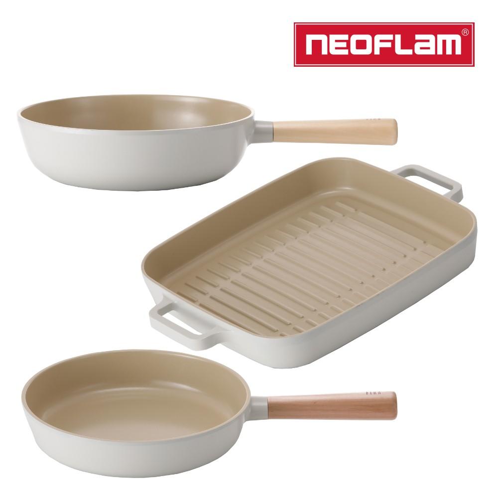 NEOFLAM FIKA系列鑄造不沾3鍋組(平底鍋+炒鍋+烤盤) IH適用/不挑爐具/可直火