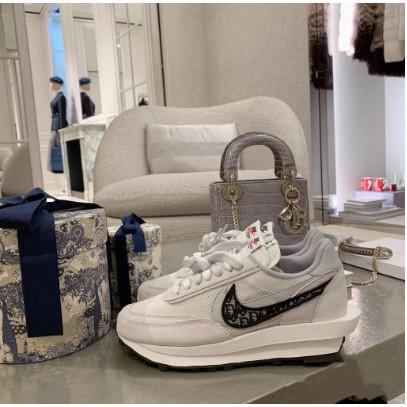 海外耐吉NIke x Sacai x Dior聯名 華夫迪奧雙勾雙鞋舌休閒慢跑鞋 透明呼吸網紗 男女休閒鞋