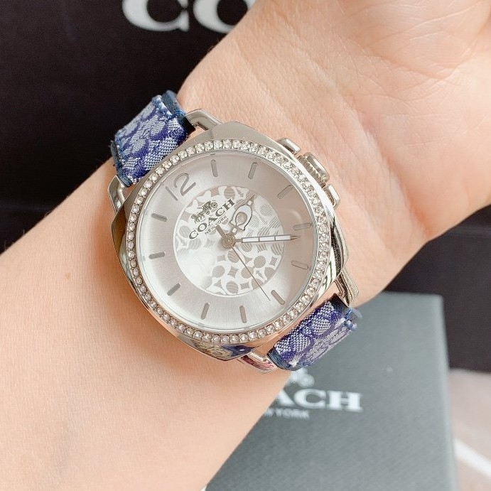 Money代購COACH 手錶女 蔻馳大錶盤女錶 鋼帶石英手錶 滿天星 輕奢時尚 情侶手錶 coach手錶