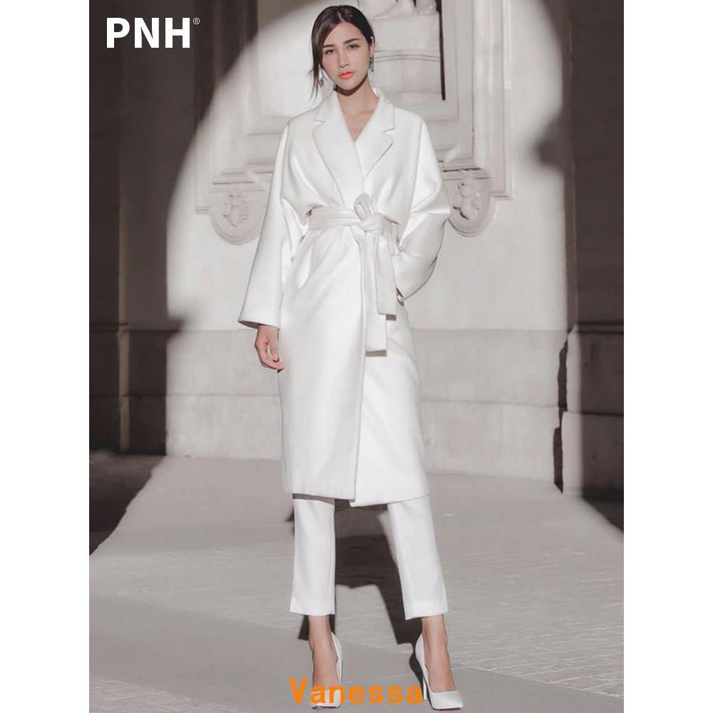 Vanessa☂白色毛呢外套女中長款寬鬆韓版爆款秋冬季加厚呢子大衣