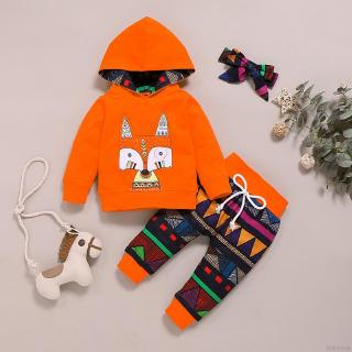 BABYKING秋季男嬰女孩休閒裝長袖動物印花連帽衫運動衫+幾何褲+頭巾
