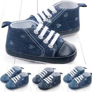 蹣跚學步的女嬰男孩系鞋帶牛仔心蹣跚學步第一次走路軟皮鞋