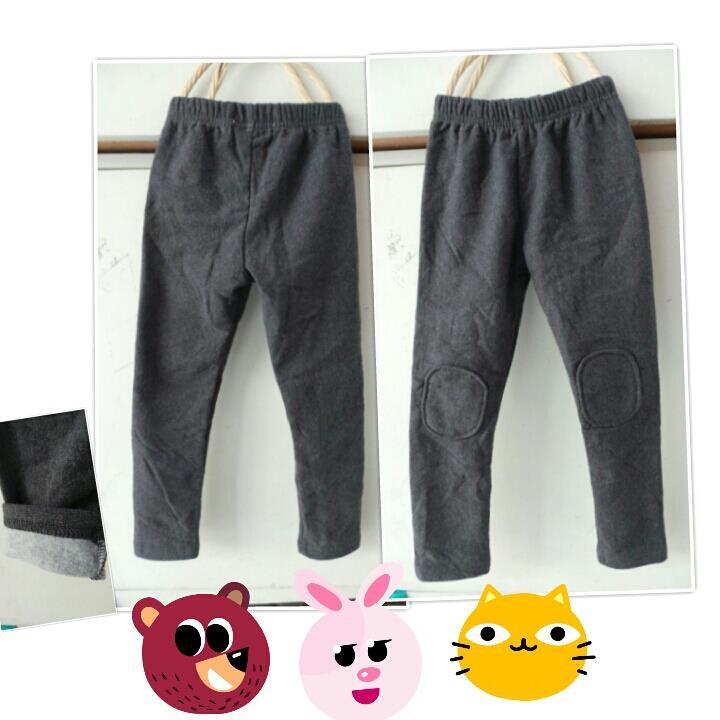 【班比納精品童裝】刷毛百搭貼布內搭褲-灰【W0560211607】