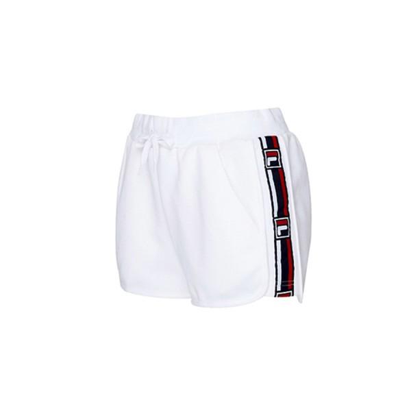 FILA 運動短褲 針織短褲 串標LOGO 白色 女生【5SHV-1436-WT】
