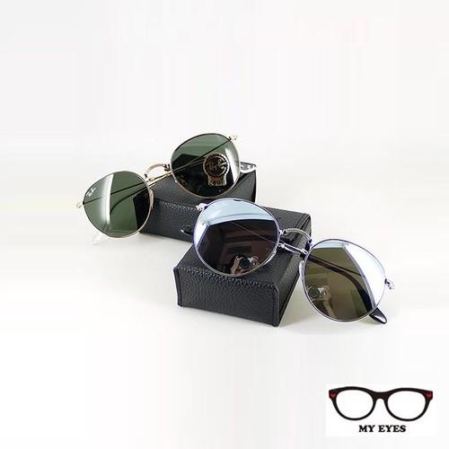 Ray Ban 雷朋經典品牌 金邊墨綠片摺疊復古圓框太陽眼鏡 旭日貨 (RB3532 001)