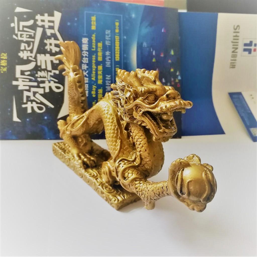 銅龍公仔手持球中國風水好運護身符shuixudenise