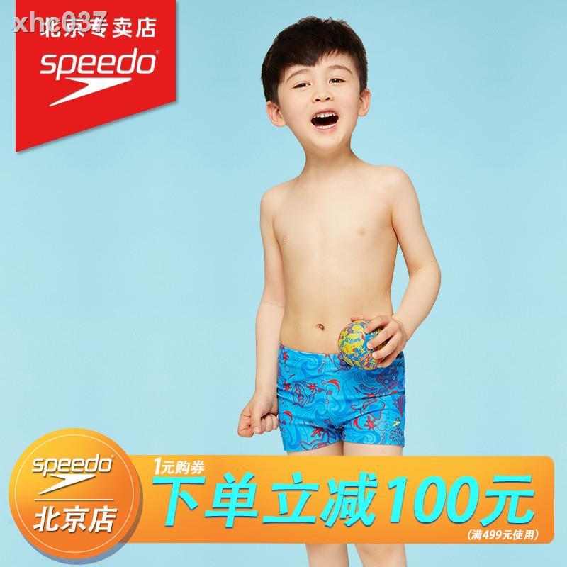 【現貨+免運】✁▣speedo速比濤青少年兒童泳褲男童小童印花平角抗氯舒適速干游泳褲
