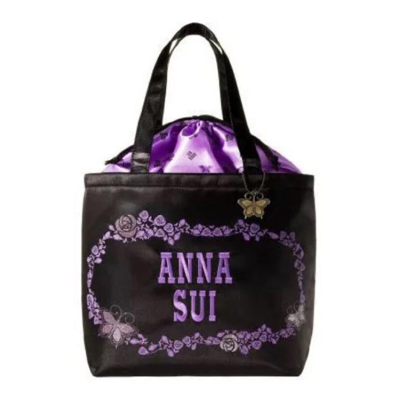 *咪將小舖*現貨 日雜附錄 ANNA SUI 安娜蘇香水 刺繡束口 附吊飾 手提袋 便當袋 補習袋 購物袋 肩背包