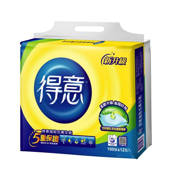 得意連續抽取式花紋衛生紙 100抽x12包  【大潤發】