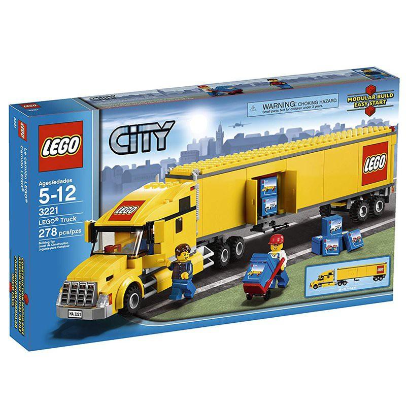 囧囧家設計LEGO樂高3221城市系列機場黃色大卡車貨車運載車拖車拼插積木玩具